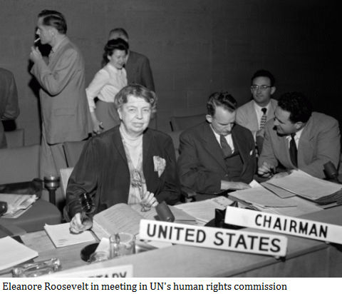 Eleanore Roosevelt in meeting in UN's human rights commission.