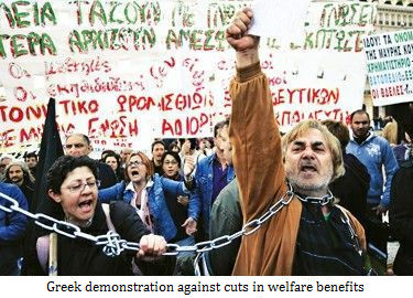 Demonstration in Greek against cuts in the welfare benefits